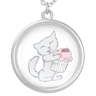 Strawberry Cupcake Kitten Silver Plated Necklace