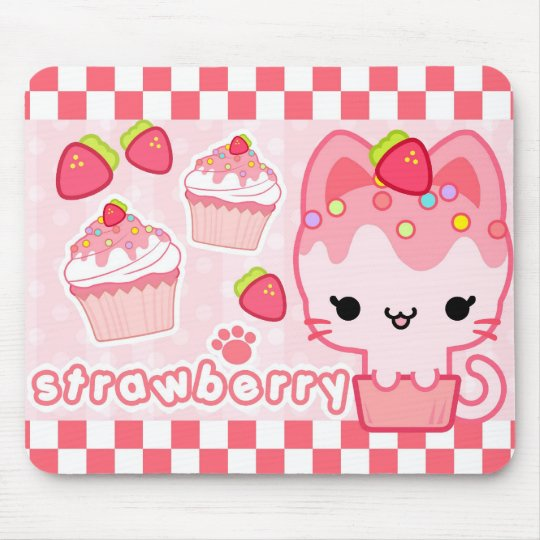 Strawberry Cupcake Kitty Mousepad