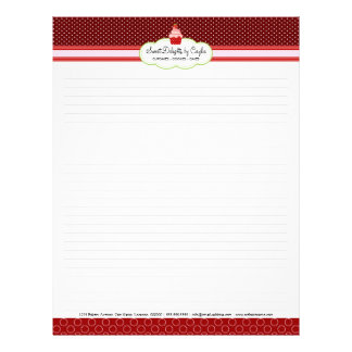 Strawberry Cupcake Lined Recipe Paper Letterhead
