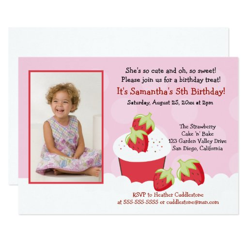 Strawberry Cupcake Photo Birthday Invitation