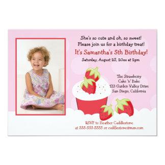 "Strawberry Cupcake Photo Birthday Invitation 5"" X 7"" Invitation Card"