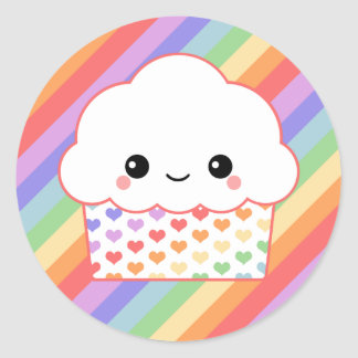 Strawberry Cupcake Rainbow Classic Round Sticker