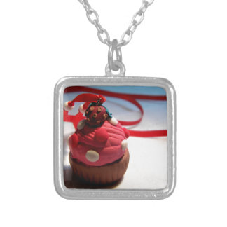 Strawberry Cupcake Silver Plated Necklace