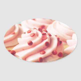 STRAWBERRY CUPCAKES PHOTOGRAPH OVAL STICKER