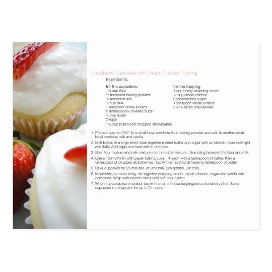 Strawberry Cupcakes Recipe Postcard