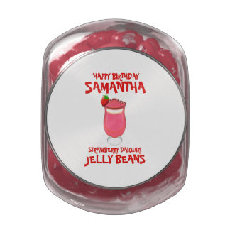 Strawberry Daiquiri Happy Birthday Jelly Belly Candy Jar