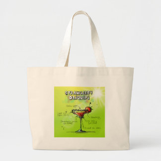 Strawberry Daiquiri Recipe - Cocktail Gift Large Tote Bag