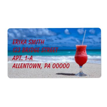 Strawberry Daiquiri Tropical Punch Caribbean Beach Label