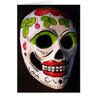 Strawberry Day of the Dead Mask Card