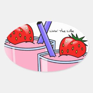 Strawberry Delight Oval Sticker