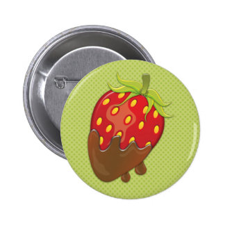 Strawberry dipped in chocolate pinback buttons
