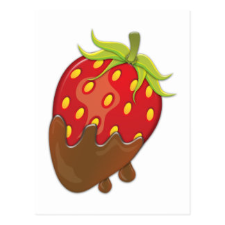Strawberry dipped in chocolate postcard
