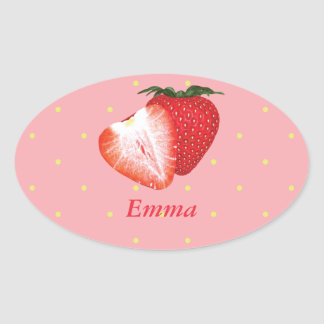 Strawberry Dots with Customizable Text Oval Sticker