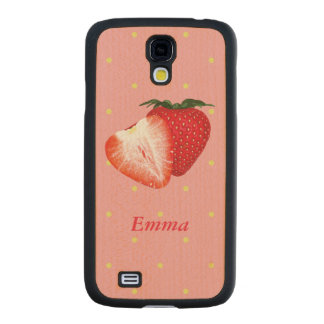 Strawberry Dots with Customizable Text Carved® Maple Galaxy S4 Slim Case