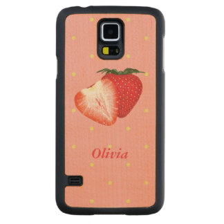 Strawberry Dots with Customizable Text Carved® Maple Galaxy S5 Case