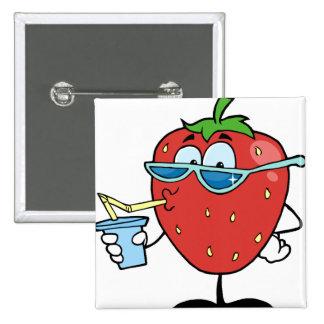 Strawberry drinking a soda pinback button
