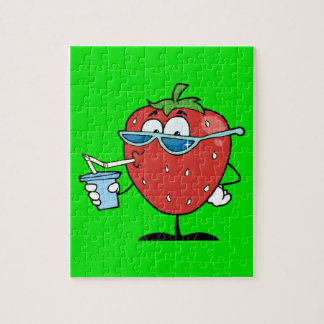Strawberry drinking a soda puzzles