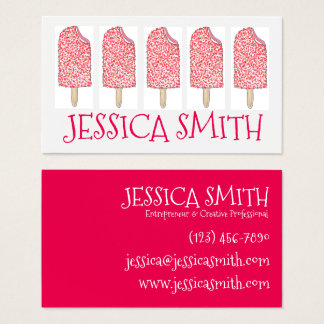 Strawberry Eclair Ice Cream Pink Popsicles Foodie Business Card