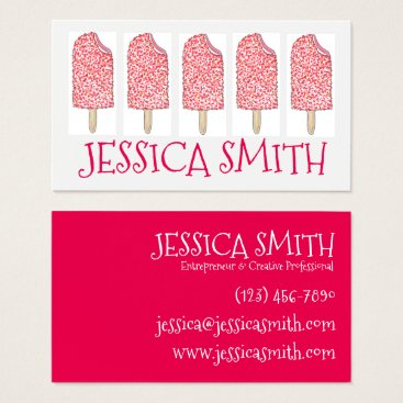 Professional Business Strawberry Eclair Ice Cream Pink Popsicles Foodie Business Card