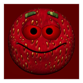 Strawberry Emoticon Poster
