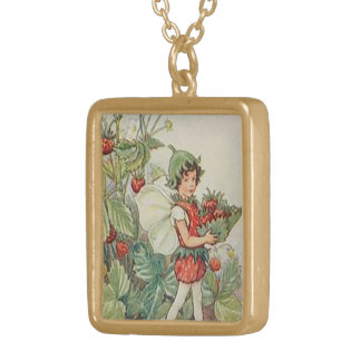 strawberry fairy gold plated necklace
