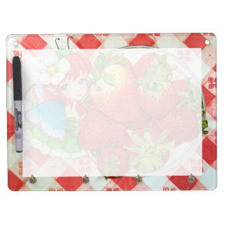 Strawberry Fairy Picnic Art Print Dry Erase Board With Keychain Holder