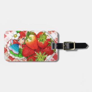 Strawberry Fairy Picnic Art Print Luggage Tag
