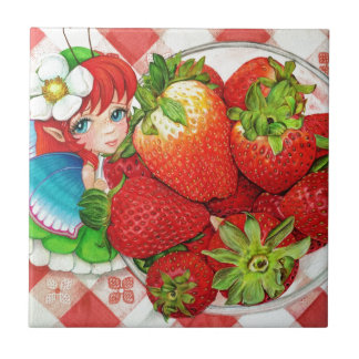 Strawberry Fairy Picnic Art Print Tile
