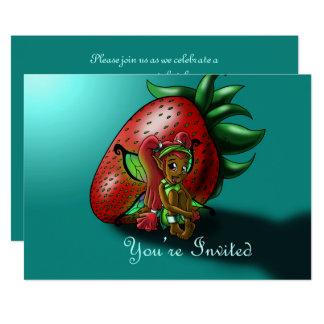 """Strawberry Fairy Zuwena Birthday Invitation"" 7x5"" Card"