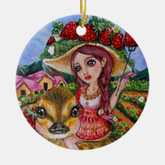 Strawberry Field Fantasy Art Ceramic Ornament