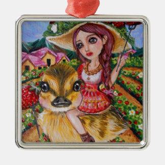 Strawberry Field Fantasy Art Metal Ornament