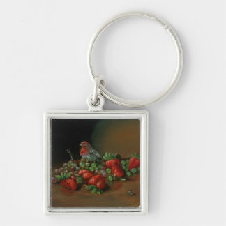 Strawberry finch bird and fruit Strawberries Keychain