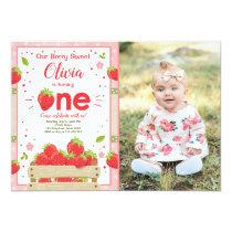 Strawberry First Birthday Invitation Summer Fruit