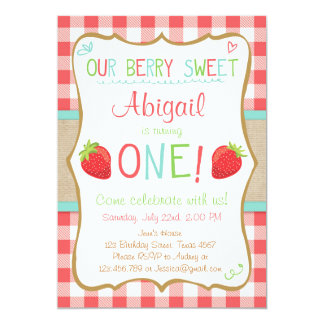 Strawberry First Birthday Invitation Summer Party