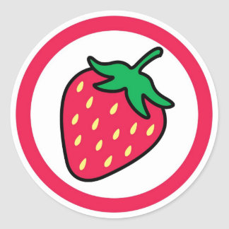 Strawberry flavor visual circle sticker labels