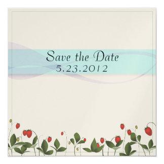 "Strawberry Flowers 5.25"" Square Invitation Card"