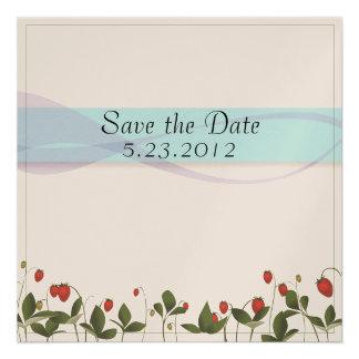 Strawberry Flowers Invitations