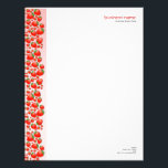 """Strawberry Fresh Pink Letterhead<br><div class=""""desc"""">Strawberries on pink background. Elegant,  fully customizable letterhead.   Click &quot;Customize It&quot; button to change texts,  fonts or colors.  Original design by Ruxique.    Matching Business Card available          com</div>"""