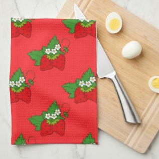 Strawberry Fruit Pattern Kitchen towel at Zazzle