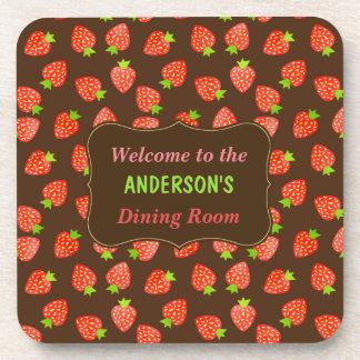 Strawberry Fruit Pattern Pretty Brown Custom Name Coaster