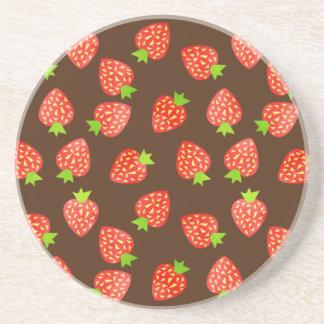 Strawberry Fruit Pattern Pretty Brown or Custom Sandstone Coaster