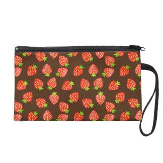 Strawberry Fruit Pattern Pretty Brown or Custom Wristlet