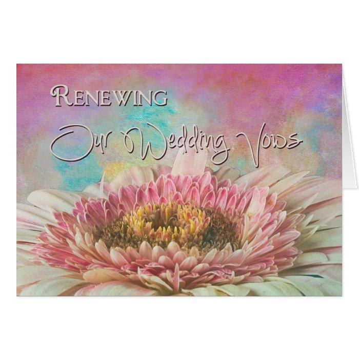 Strawberry Gerber Daisy - Vow Renewal Inviatation Card