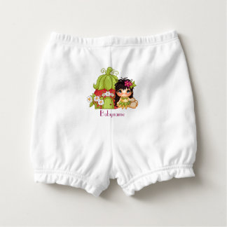 Strawberry Girl Cute Brunette Personalized Diaper Cover