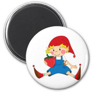 Strawberry Gnome 2 Inch Round Magnet