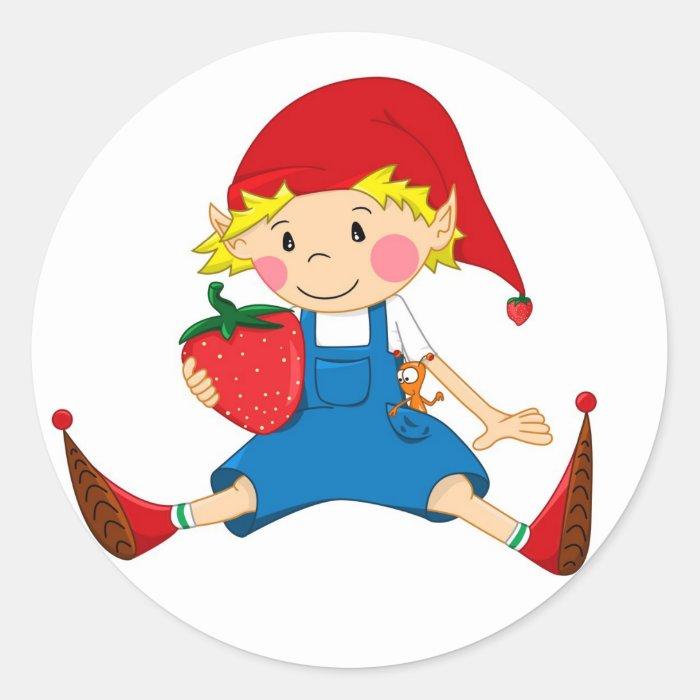 Strawberry Gnome Classic Round Sticker