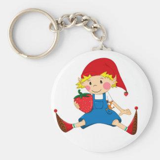Strawberry Gnome Basic Round Button Keychain