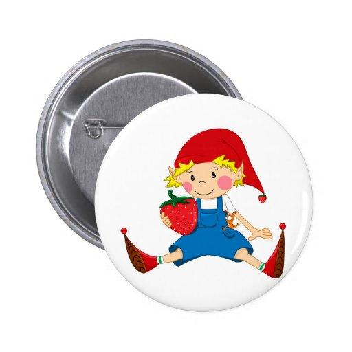 Strawberry Gnome Pinback Button