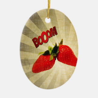 Strawberry go BOOM Popart Ceramic Ornament