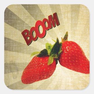 Strawberry go BOOM Popart Square Sticker